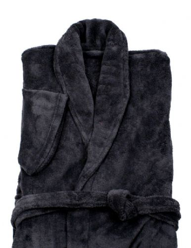 CHARCOAL BLACK COLOUR LUXURY FLEECE MICROFIBRE BATH ROBE
